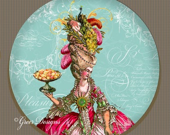 ThermoSaf Marie Antoinette Let them eat Cake Peacock 10 inch Art Plate 100% Made in USA