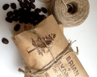 Rustic Spring Wedding Favors. Unique coffee favors with a personalized stamp. Set of 30. Custom Corporate Gift.