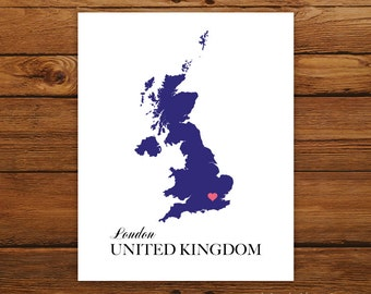 United Kingdom Country Love Map Silhouette 8x10 Print - Customized