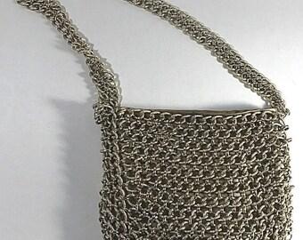 Vintage metal chainmail gold shoulder bag