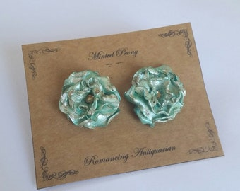 Blue Green Rose, Peony Silver Earring Studs, Handcrafted Floral Jewelry