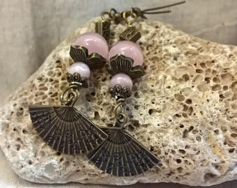 These beautiful earrings Bohemian style in pink opals and bronze beads, findings