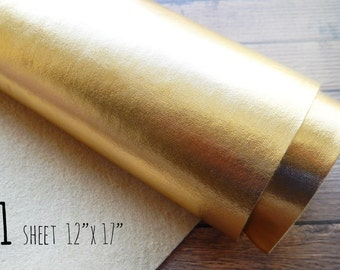 Metallic Felt Fabric Sheet - Gold - 12x17 - Bold and Shimmery - the Perfect Gold - Metallic Gold, Gold Fabric