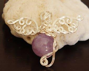 Handmade Pendant top, Lavender Amethyst. Wire.