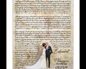 Wedding vows, wedding song lyric art, wedding vows print, paper 1st anniversary gift personalized song lyric gifts, canvas framed opt