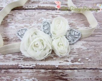 Ivory Flower Headband, Chiffon Flower Trio w/ Pearls Headband, Baptism, Christening, Wedding, Newborn Headband, Baby Child Girls Headband
