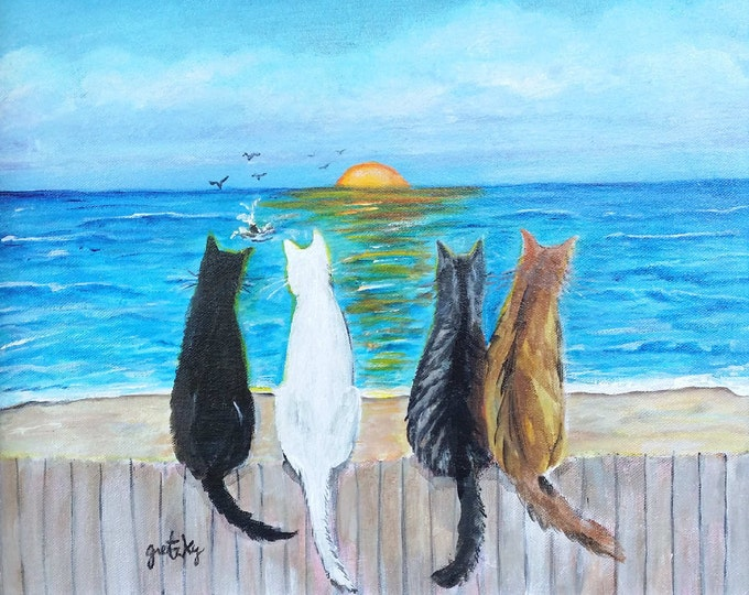 Cat Beach Sunset Print Poster