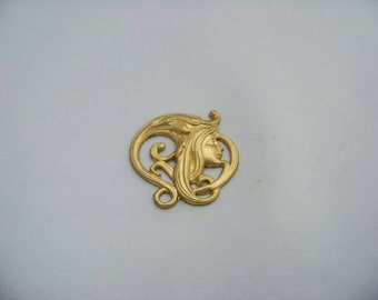 Brass Art Nouveau Lady Stamping  Finds 2/3176