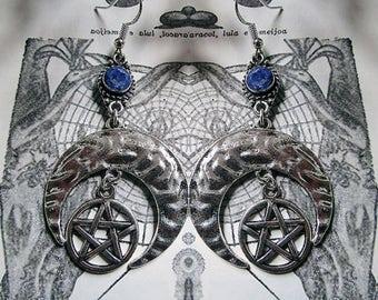 Moon and Pentagram Earrings, Sillimanite Sapphire Blue Earrings, Witchy Earrings, Wicca, Moon Earrings