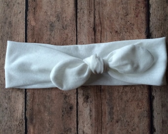 Top Knot Headband || Solid White on Cotton Jersey Knit Fabric || Knotted Headband