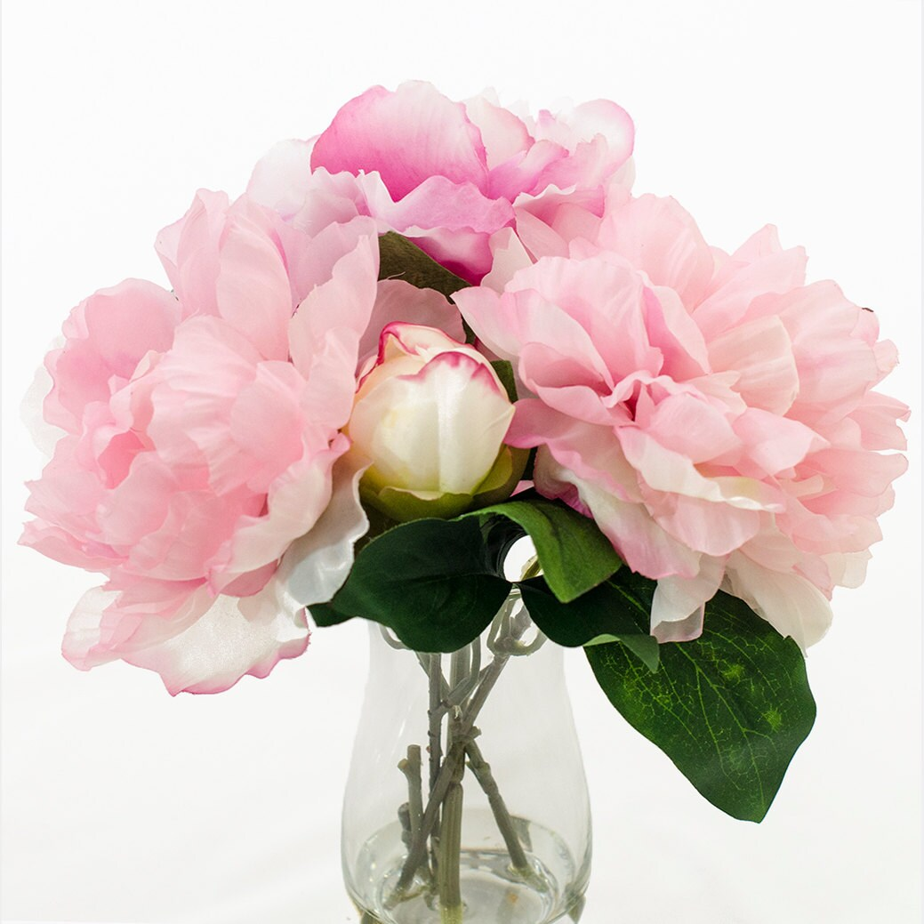Silk fuchsia light pink peony bud taller glass vase artificial zoom reviewsmspy