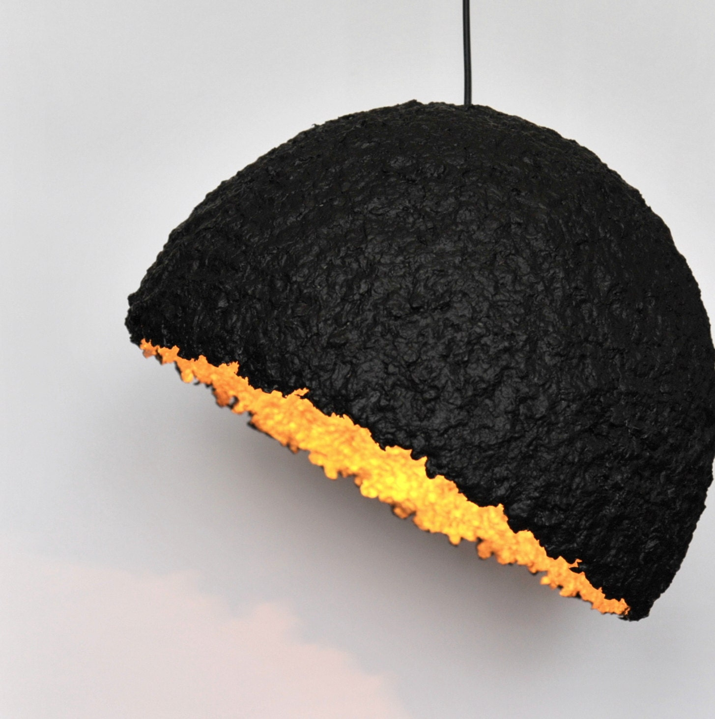 Paper mache ceiling lampshade black and golden paper pulp lamp zoom arubaitofo Gallery