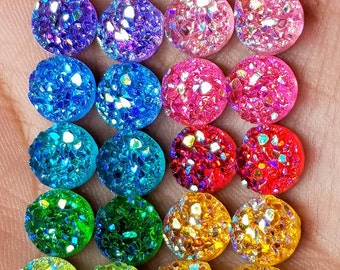 Ab 8mm chunky faux druzy 22pc Cabochon sampler