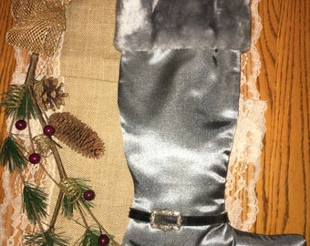 Silver Buckled Holiday Stocking