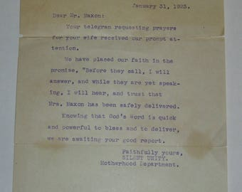 1923 Request For Prayers Letter from the Unity School of Christianity Motherhood Department / Silent Unity / Kansas City Missouri