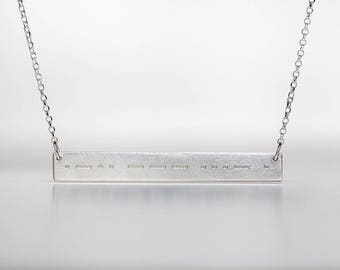 Custom Morse Code Bar Necklace - Personalized Jewelry - Gold, Rose Gold, or Sterling - Custom Engraving - Morse Code Jewelry