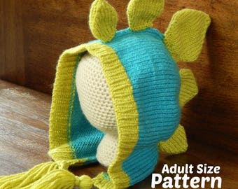 Adult Knit Dinosaur Hat - Stegosaurus Pattern : Knitting Pattern, Knit Adult Hat