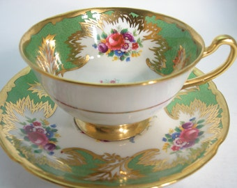Royal Grafton  Tea Cup and Saucer,  Green Tea Cup and Saucer with heavy gold, Mint Condition.