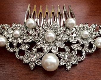 Wedding hair comb, Pearl bridal hair comb, bridal hair accessories, wedding hair accessories, crystal hair comb, vintage comb,bridal jewelry