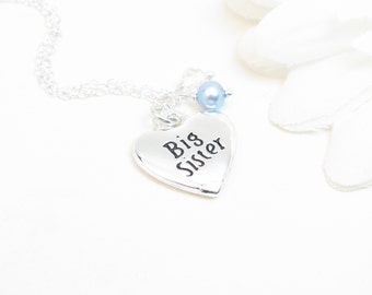 Big Sister Necklace - From New Baby Brother - Big Sister Gift - Gift from Baby Brother - Sister Jewelry with Blue Pearl Charm