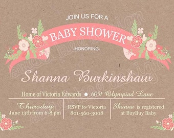 Floral baby Shower Invitation, Bridal Shower Invitation or Birthday Invitation- Custom Printable