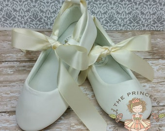Silver Toddler shoes - Baby Flower Girl Shoe also Gold, Ivory, White - Christening Baby Shoe - Girls Ballet Slipper -  Baby Shoes