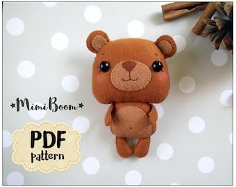 Felt pattern Bear Plush sewing tutorial PDF pattern toy Bear ornament DIY felt tutorial softie Bear sewing pattern woodland baby mobile