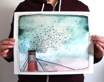 Art - Swifts Art Print - 11x14 Print - Chapman Swifts - Portland Swifts - Bird Art - Large Print - Portland's Chapman Swifts