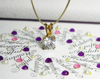 Vintage CZ Gold Sterling Silver Necklace - Vintage CZ Gold Vermeil Box Chain Necklace - Yellow Gold CZ Necklace