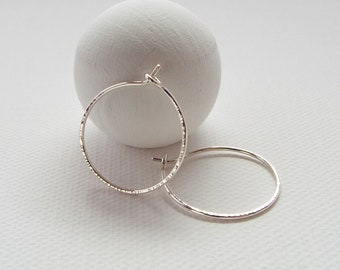 STERLING SILVER Hoop Earrings, Hoops with Sparkling Hammered Finish, Minimalist, Modern, Contemporary Jewelry, Sparkly, Simple, Elegant