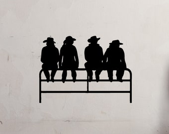 Cowboy-Cowgirls Sitting On Fence Vinyl Decal - Cowboys - Western - Cowgirls - Vinyl Decal - Wall Vinyl