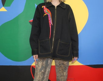 Parrot Embroidered BOB MACKIE Wearable Art Zip-Up