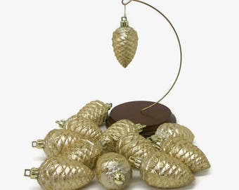 """Set of 12 Twelve Vintage Plastic Pinecone Ornaments with Sugared Glitter, 3"""" Pale Gold Sparkly Faux Glass Pinecone Christmas Ornaments"""