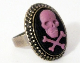 Retro vintage cameo ring red rose rockabilly pin up gothic penny dreadful