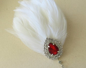 Feather Bridal Headpiece, Great Gatsby Wedding,1920s,White, Red Jewel, Bridal Head Piece, Feather Fascinator