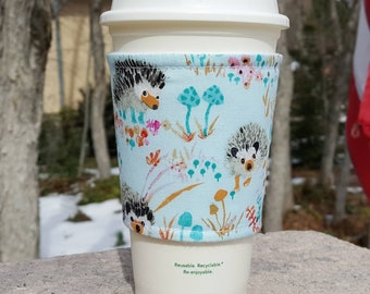 FREE SHIPPING UPGRADE with minimum -  Fabric coffee cozy / cup sleeve / coffee sleeve / drink cozy - Hedgehogs on Aqua