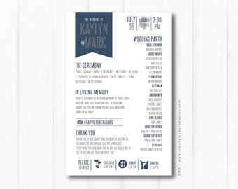 wedding program, ceremony program, banner, timeline, wedding timeline, wedding programs, wedding party, PRINTABLE or PRINTED PROGRAMS
