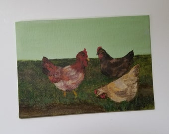 Three French Hens - Acrylic Painting - Small gift - Original art