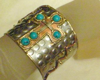 Brutalist Cuff Bracelet - Wide Cuff Bracelet - Wide Silver Cuff With Cross - Copper And Silver Cuff - Turquoise Cuff Bracelet