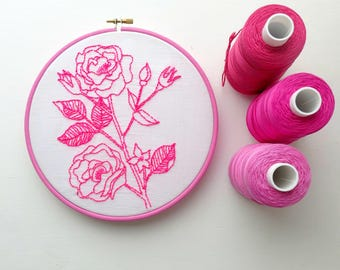 Vintage rose. Pre printed fabric. Embroidery pattern. Hoop art. Neon pink flowers. Embroidery stitch sampler. Botanical design.Home decor.