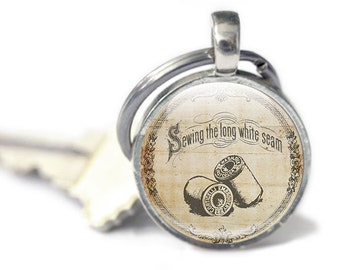 Gifts for Sewer, Sewing Keychain, Sewing Keyring, Vintage Sewing Keychain - Sewing Gifts (GSK35)