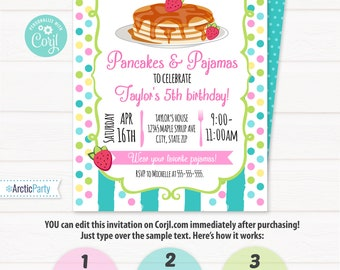 Pancakes and pajamas etsy pancakes and pajamas invitations pancakes and pajamas birthday party breakfast birthday edit at filmwisefo