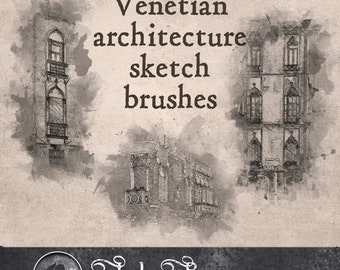 Venetian architecture Sketch Brushes--Venetian architectural sketch brushes--Digital brushes/stamps for Photoshop CU