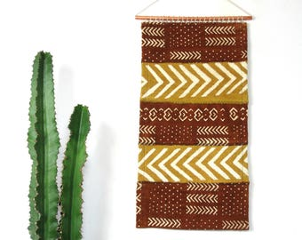 Sienna and Saffron Mudcloth Wall Hanging || African Mud Cloth Wall Art Textile Mustard Brown Rust Traditional Weaving Organic Cotton Copper