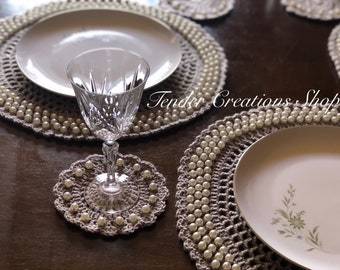 Pearl Placemats & Coasters/Table Linens/Table Decor/Wedding Decor/Place Setting/Holiday table setting/
