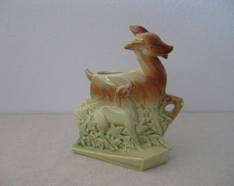 Vintage McCoy Pottery Deer and Fawn Planter