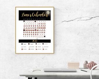 Digital Print-INSTANT DOWNLOAD, Lunar Calendar for 2019, Moon Phases Calendar Digital Download 16x20 PRINT
