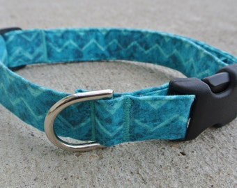 """The """"Zoey"""" Collar- Teal/Turquoise Chevron Print"""