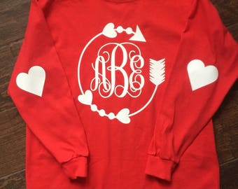 Toddler and Youth Girls Monogram Valentine's Day Shirt Long Sleeve