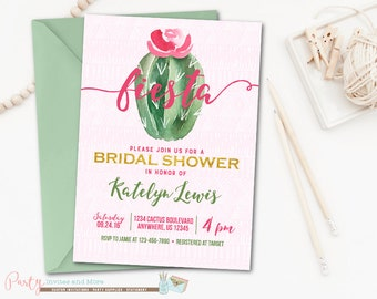 Fiesta Bridal Shower Invitation, Bridal Shower Invitation, Cactus Bridal Shower Invitation, Fiesta Invitation, Cactus Invitation